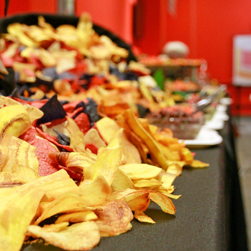 Homemade chips at a grazing table at an event