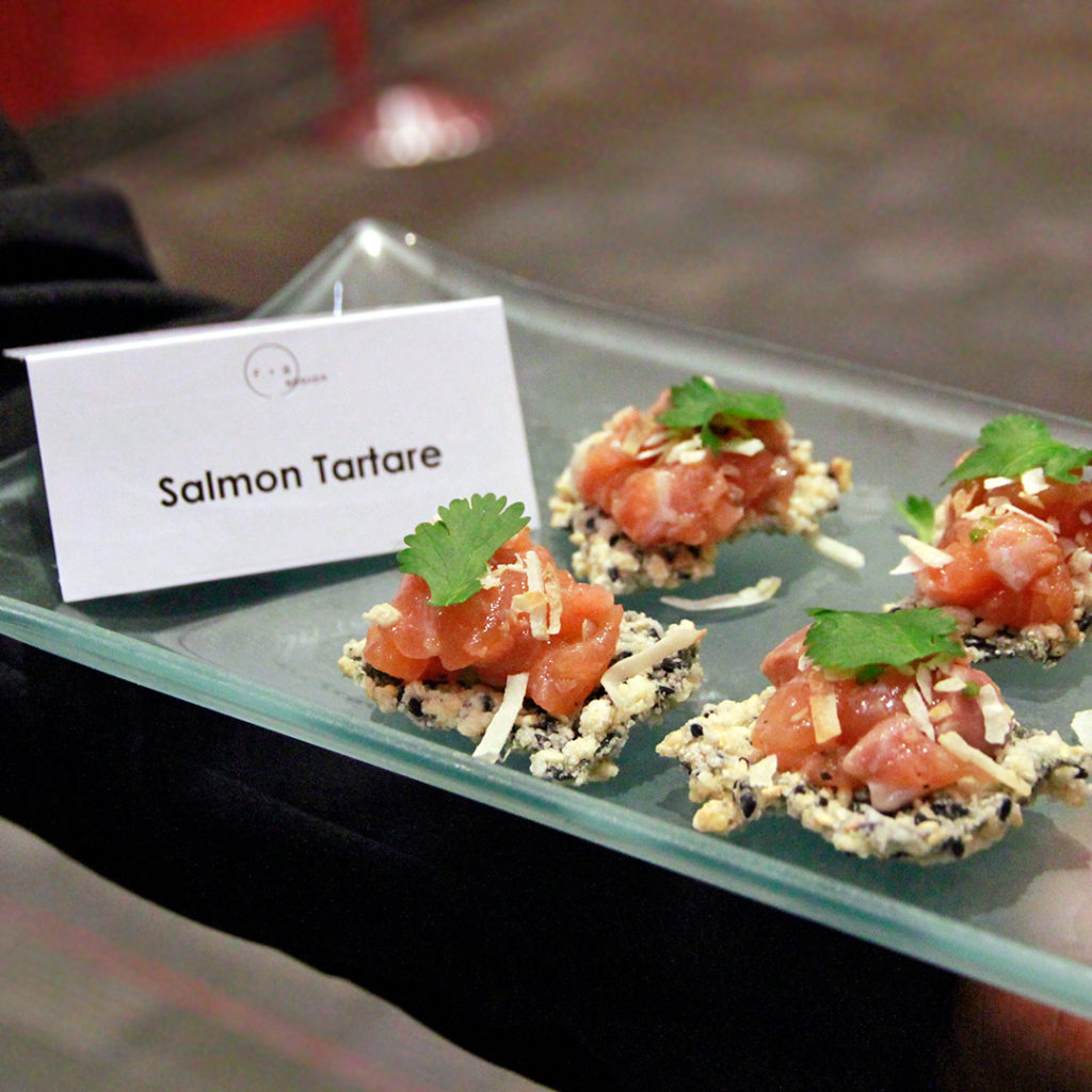 Salmon tartare as a passed hors d'ouevre