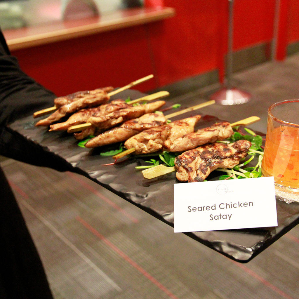 Seared chicken satay appetizer at kosher event